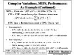 compiler variations mips performance an example continued