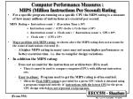 computer performance measures mips million instructions per second rating