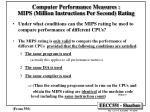 computer performance measures mips million instructions per second rating42