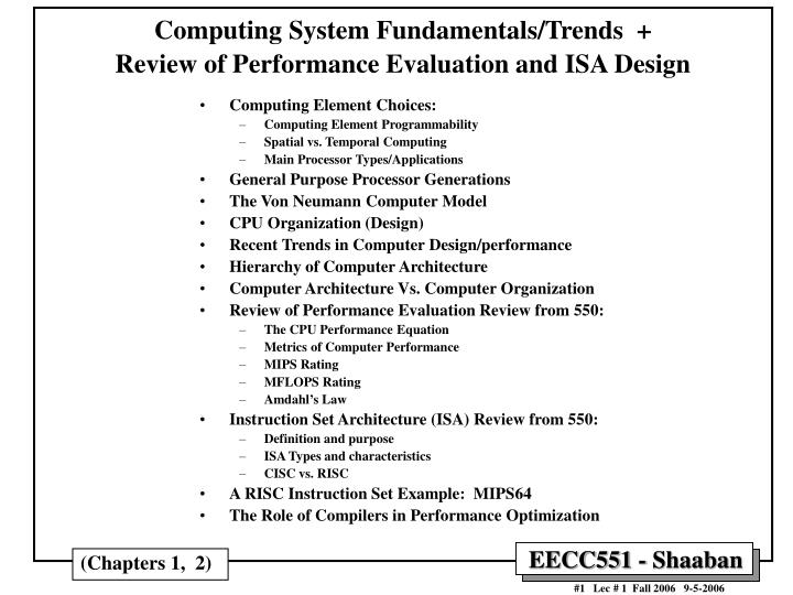 computing system fundamentals trends review of performance evaluation and isa design n.