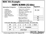 risc isa example mips r3000 32 bits