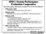 spec system performance evaluation cooperative