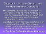 chapter 7 stream ciphers and random number generation