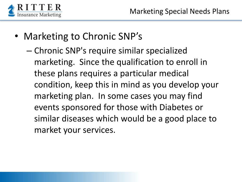 Marketing Special Needs Plans