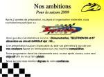 nos ambitions pour la saison 2009