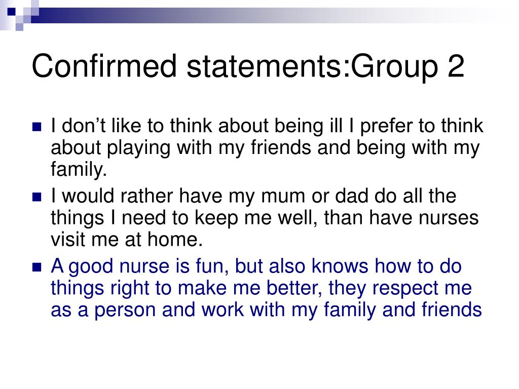 Confirmed statements:Group 2