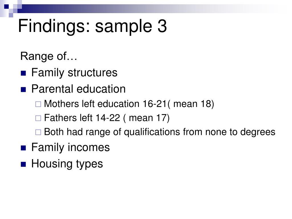 Findings: sample 3