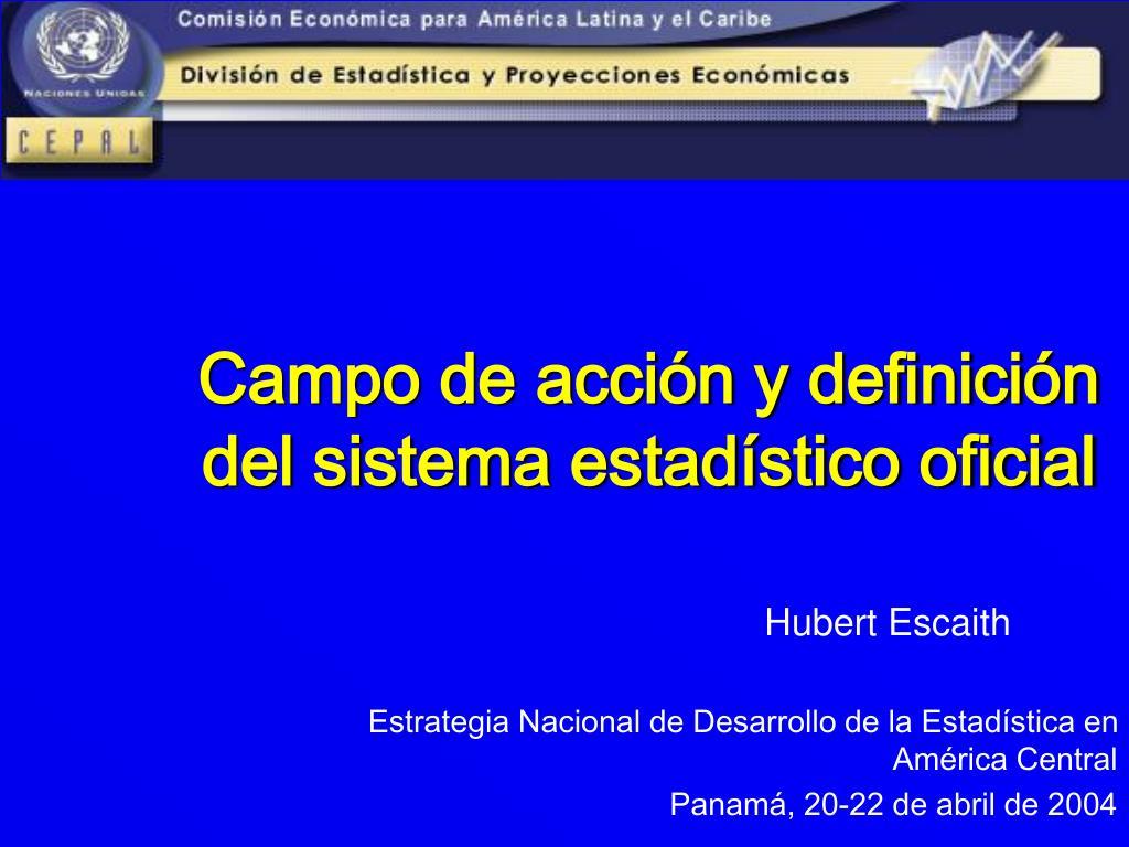 campo de acci n y definici n del sistema estad stico oficial l.