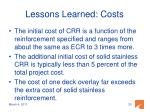 lessons learned costs