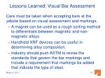 lessons learned visual bar assessment