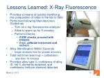 lessons learned x ray fluorescence