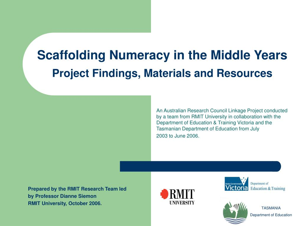 scaffolding numeracy in the middle years project findings materials and resources l.