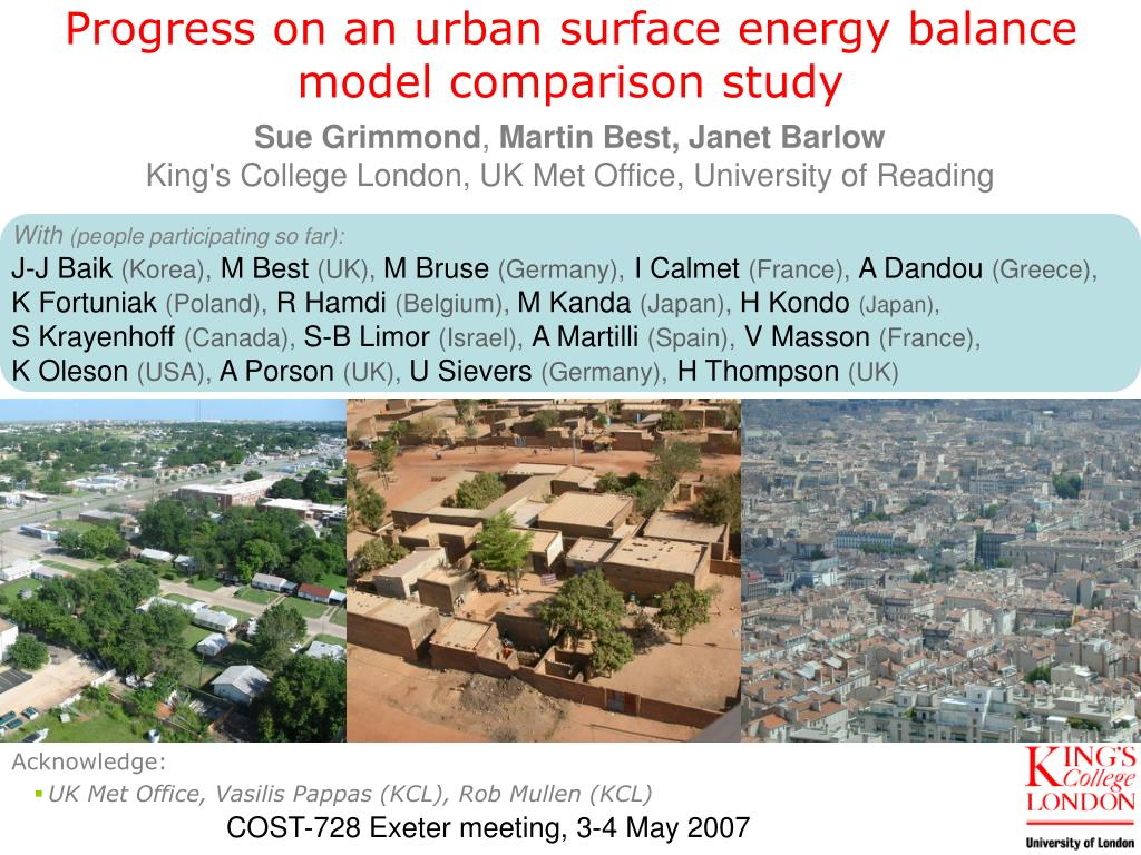 progress on an urban surface energy balance model comparison study l.