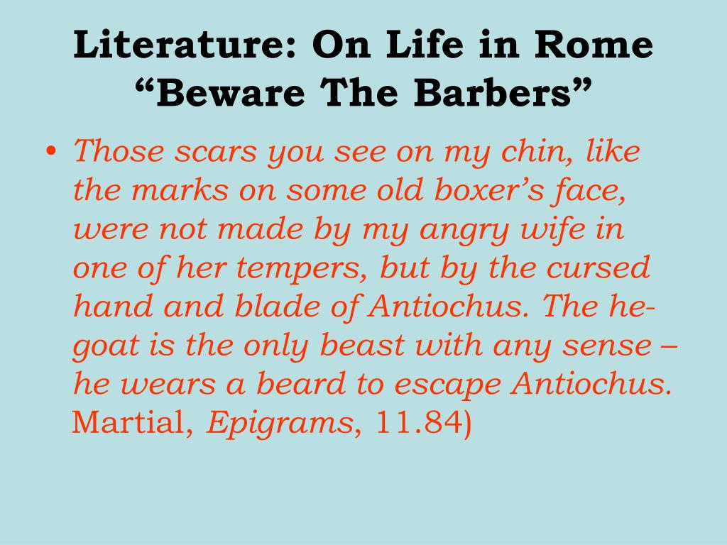 Literature: On Life in Rome