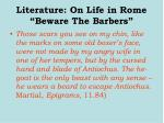literature on life in rome beware the barbers