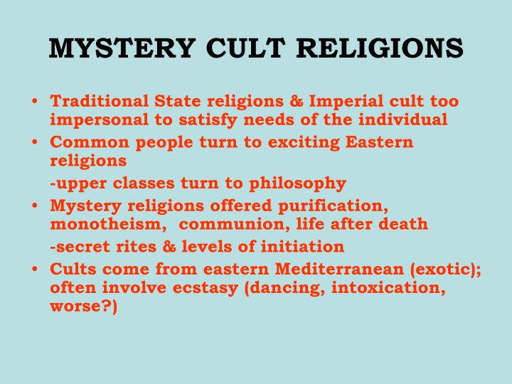 Mystery cult religions
