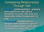 composing relationships through talk
