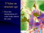 t value on structure age