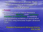 medical resonance therapy music affect autonomous innervation of cerebral arteries