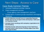 next steps access to care