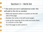 section 1 verb list