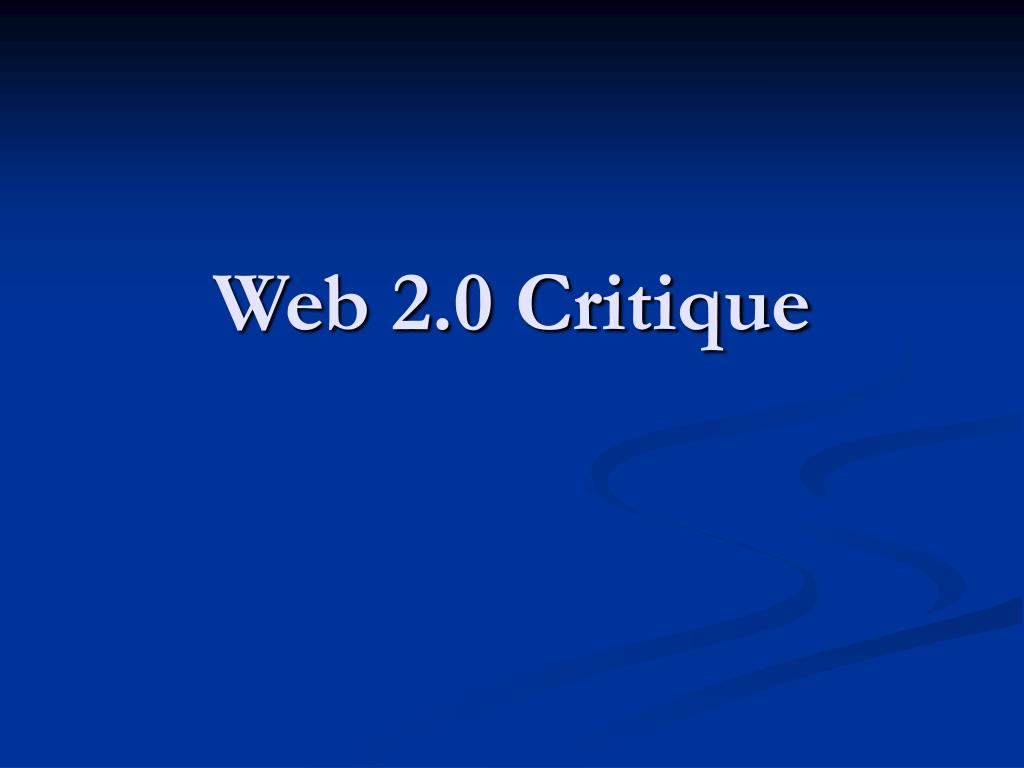 Web 2.0 Critique