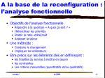 a la base de la reconfiguration l analyse fonctionnelle