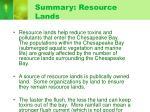 summary resource lands