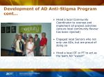 development of ad anti stigma program cont