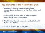 key elements of the mobility program
