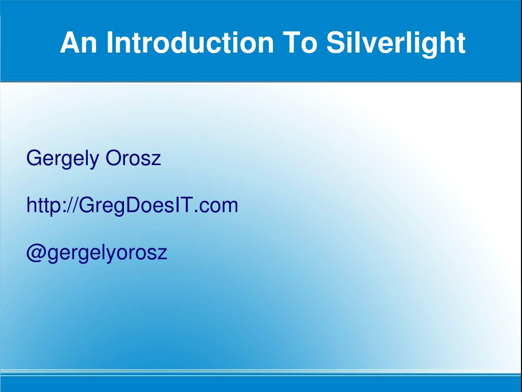 an introduction to silverlight l.