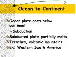 ocean to continent