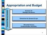 appropriation and budget