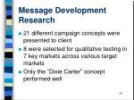 message development research