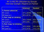 w1 w2 rx utilization by groups interview sample reports on partner