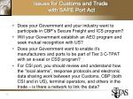 issues for customs and trade with safe port act