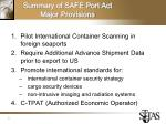 summary of safe port act major provisions