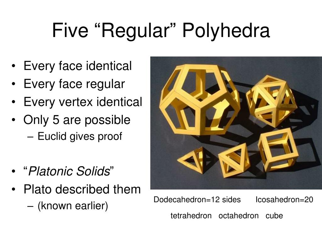 "Five ""Regular"" Polyhedra"