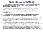 definitions of nsi i