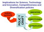 implications for science technology and innovation competitiveness and diversification policies