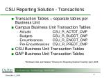 csu reporting solution transactions