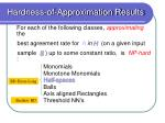hardness of approximation results