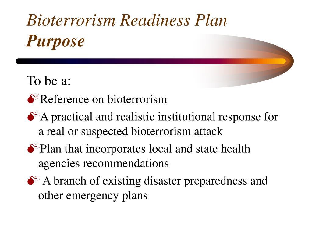 Bioterrorism Readiness Plan