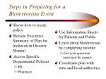 steps in preparing for a bioterrorism event