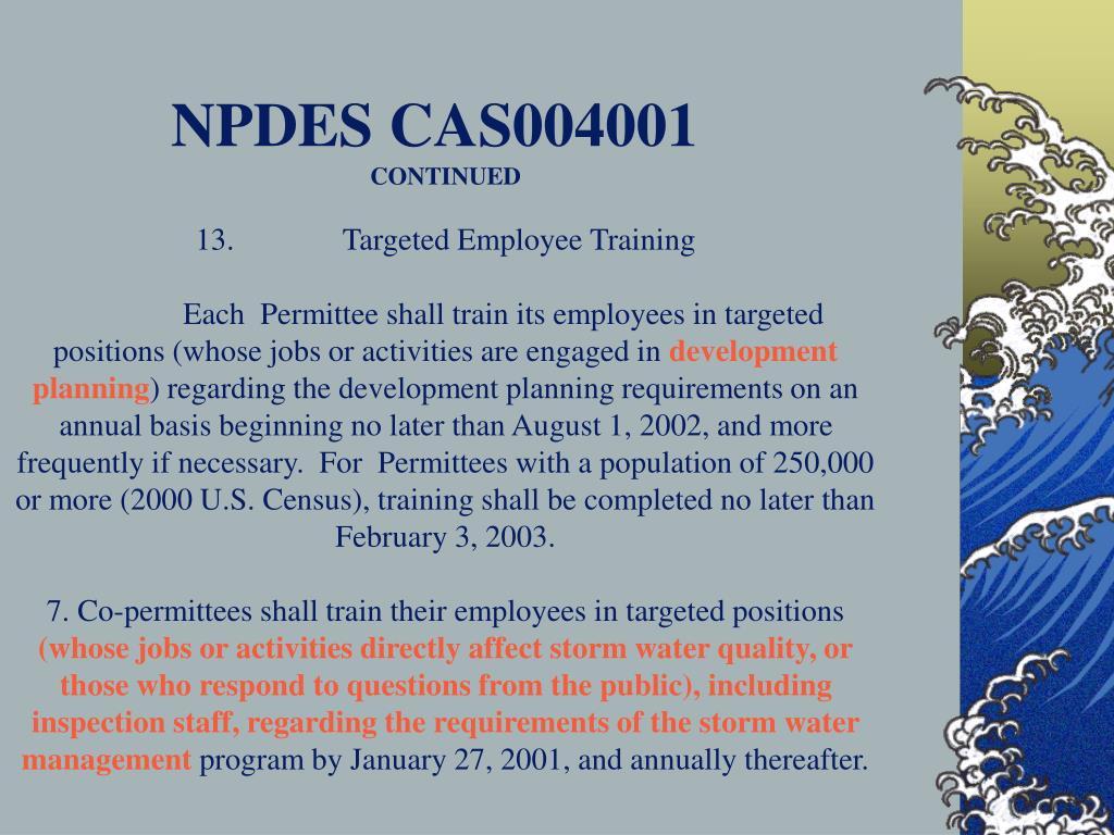 NPDES CAS004001