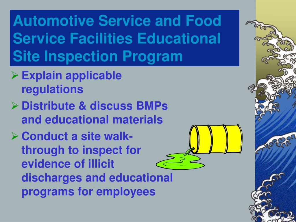 Automotive Service and Food Service Facilities Educational       Site Inspection Program