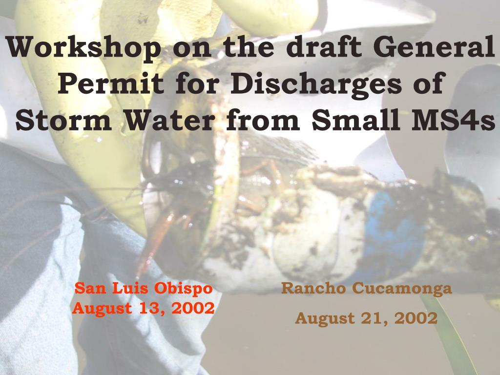 Workshop on the draft General