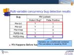 multi variable concurrency bug detection results