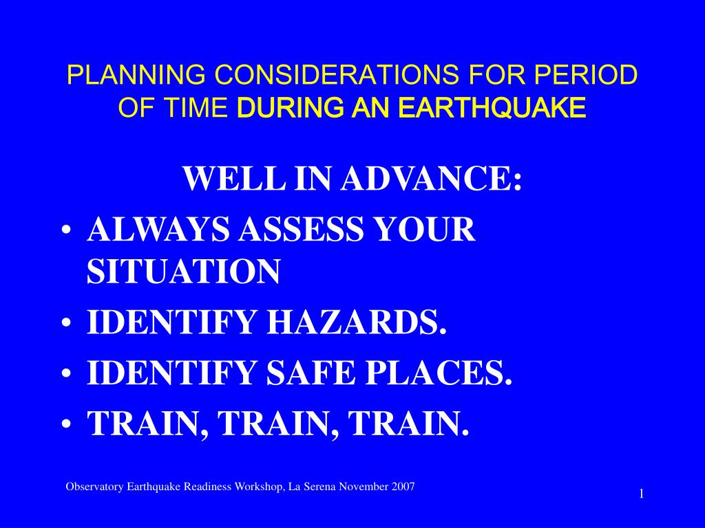 planning considerations for period of time during an earthquake l.
