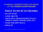 planning considerations for period of time during an earthquake6